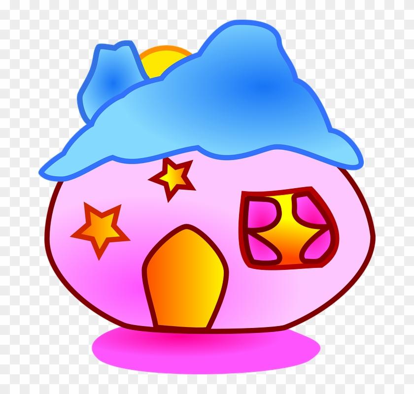 House Pink Fantasy Fairy Tale Fiction Dreamy - Round House Cartoon #33032