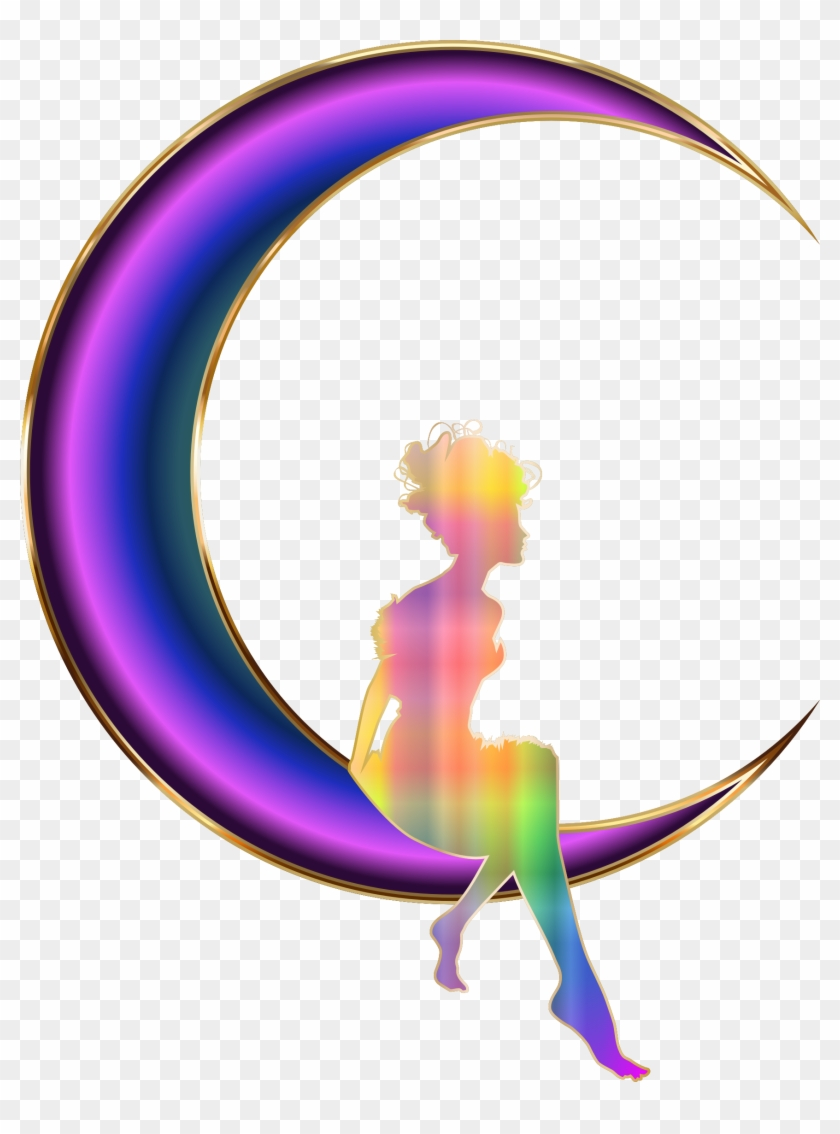 Clipart - Girl Sitting On Crescent Moon #33048