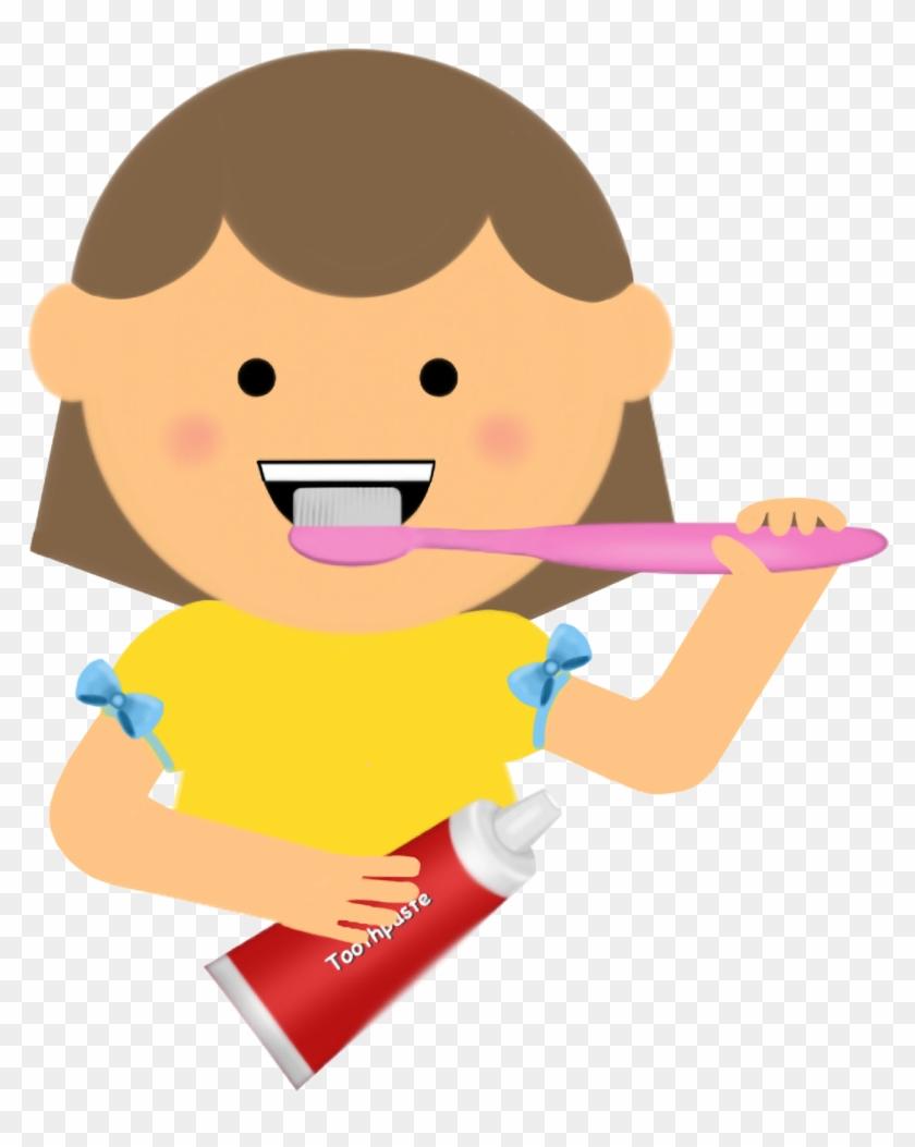 Brushing - Girl Brushing Teeth Clipart Png #33177