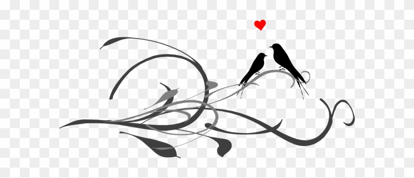 Love Birds On Tree Drawing - Love Birds Line Drawing #33182