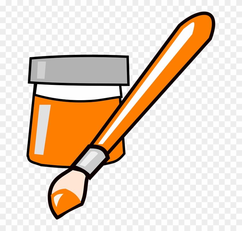 Orange Clipart Paintbrush - Paint Brush Clip Art #33189