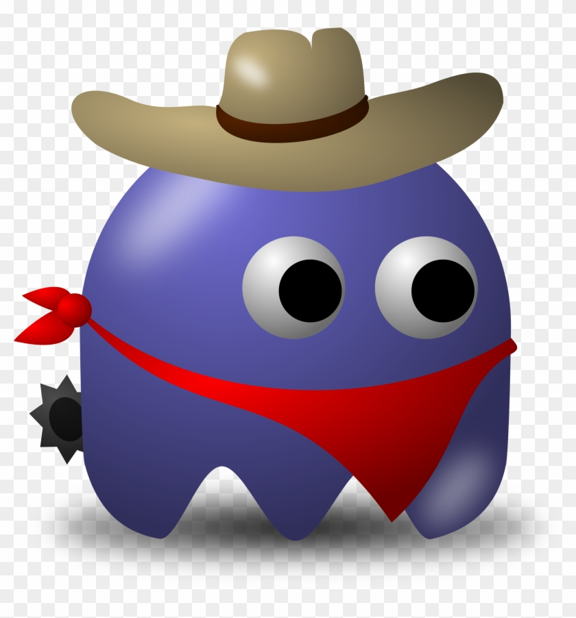 Rodeo Cowbow Avatar Character With Hat, Bandana, And - Baddy From Pac Man #33981
