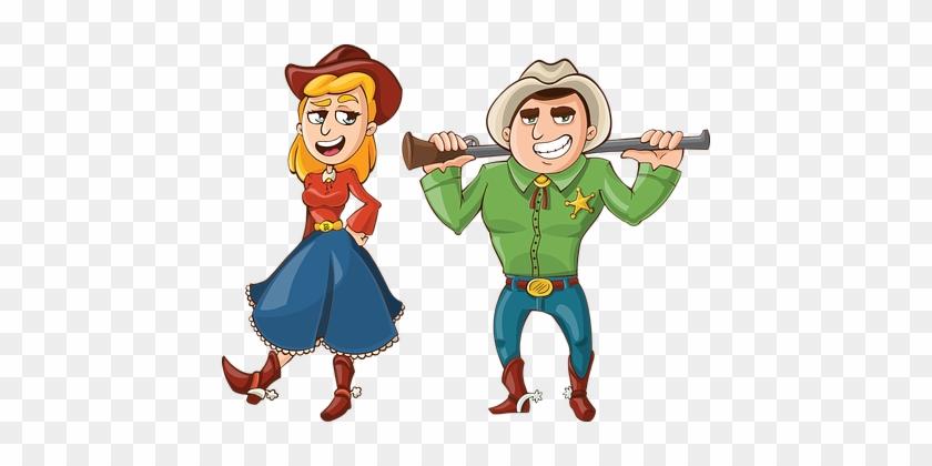 Cowboy Cowgirl Gun Rifle Hat Dress West We - Cowboys Cartoon #34064