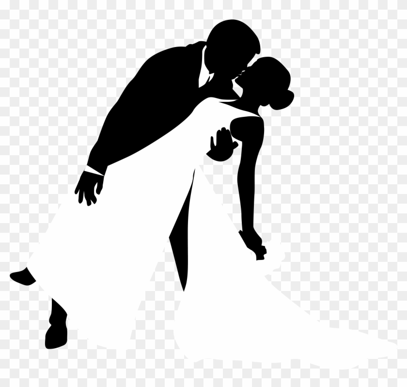 Awesome Wedding Silhouette Clip Art Pictures - Bride And Groom Kissing Silhouette Png #34091