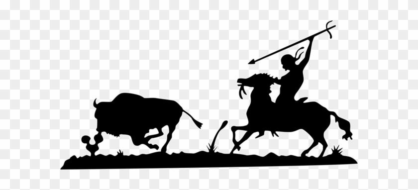 Bull Hunting Scene Free Dxf File - Plasma Cutter Designs Dxf #34134