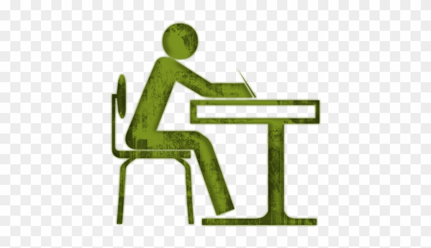 College Room Cliparts - Student Sitting At Desk #34219
