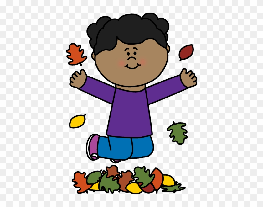 Girl Jumping In Leaves Clip Art - Games For Reading For Grade 1 #34239