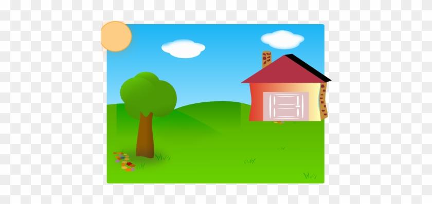 House With Backyard Cartoon #34283