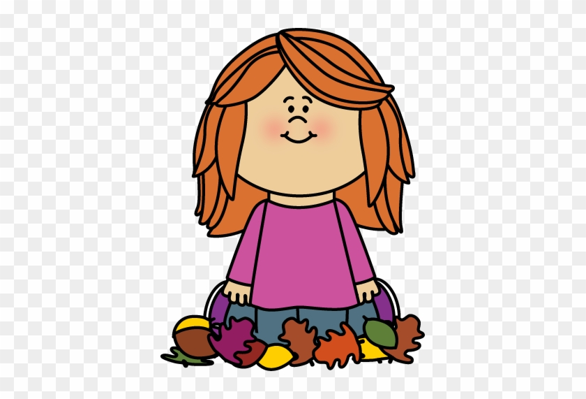 Girl Sitting In Leaves Clip Art - Girls Playing With Leaves Clipart #34299