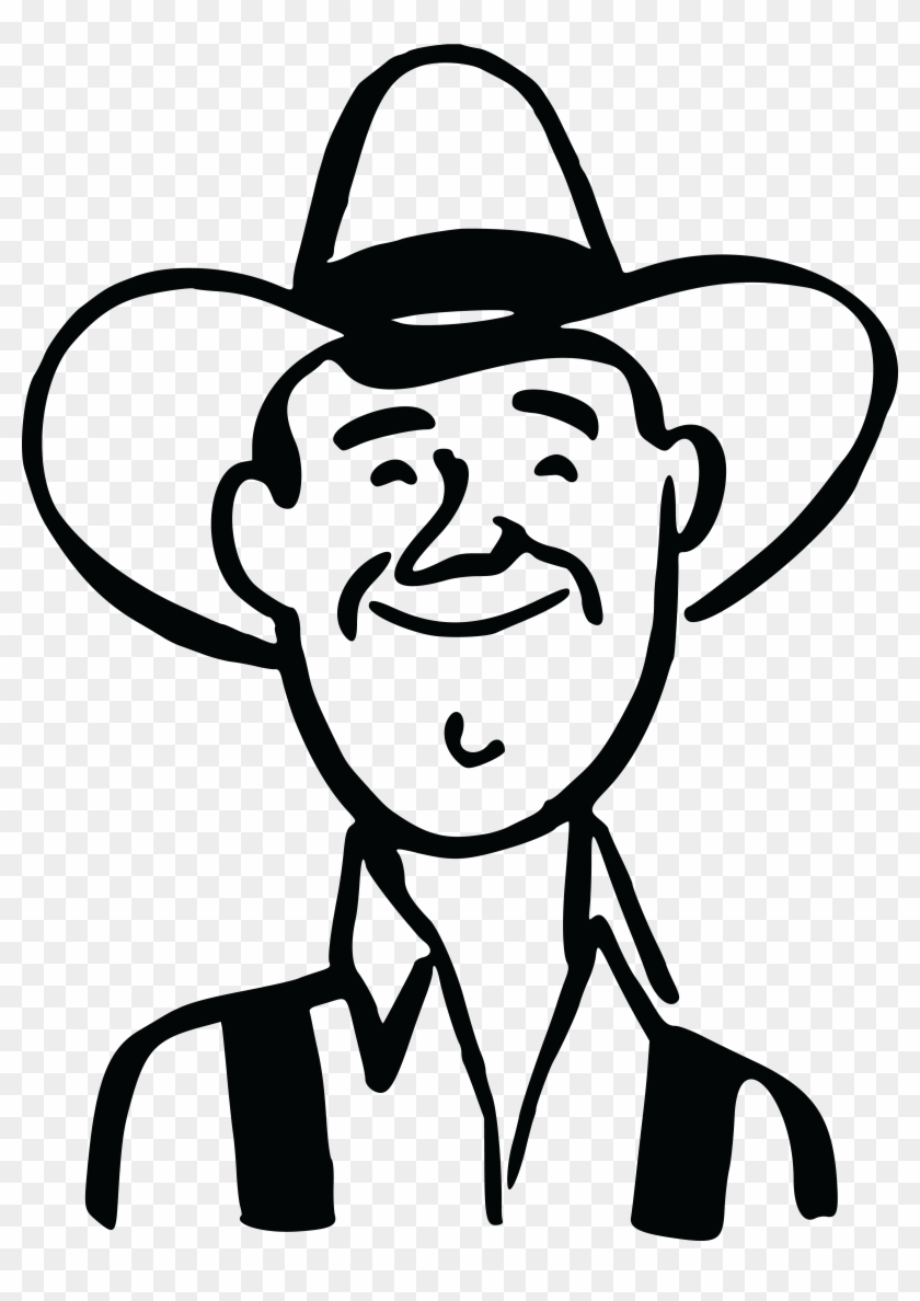 - Ai, - Eps, - Svg, - Free Clipart Of A Retro - Cowboy Head Clipart Black And White #34444