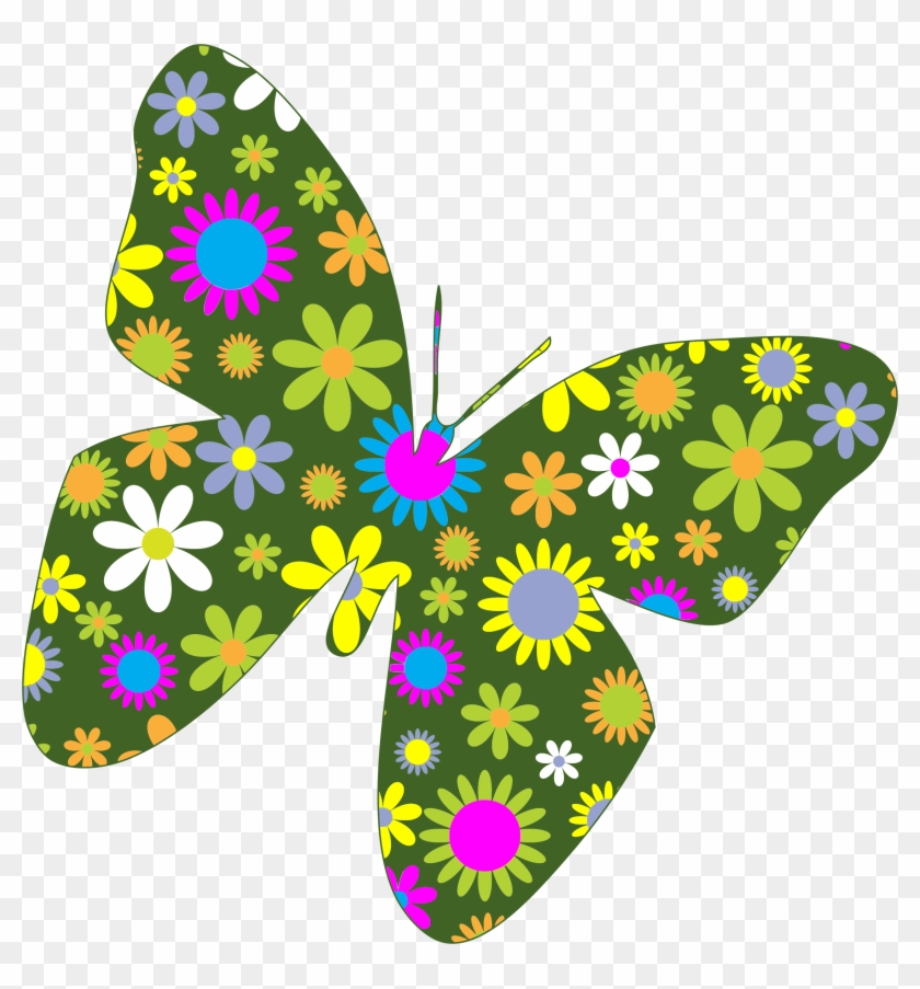 Retro Floral Butterfly - Butterfly And Flower Clip Art #34479