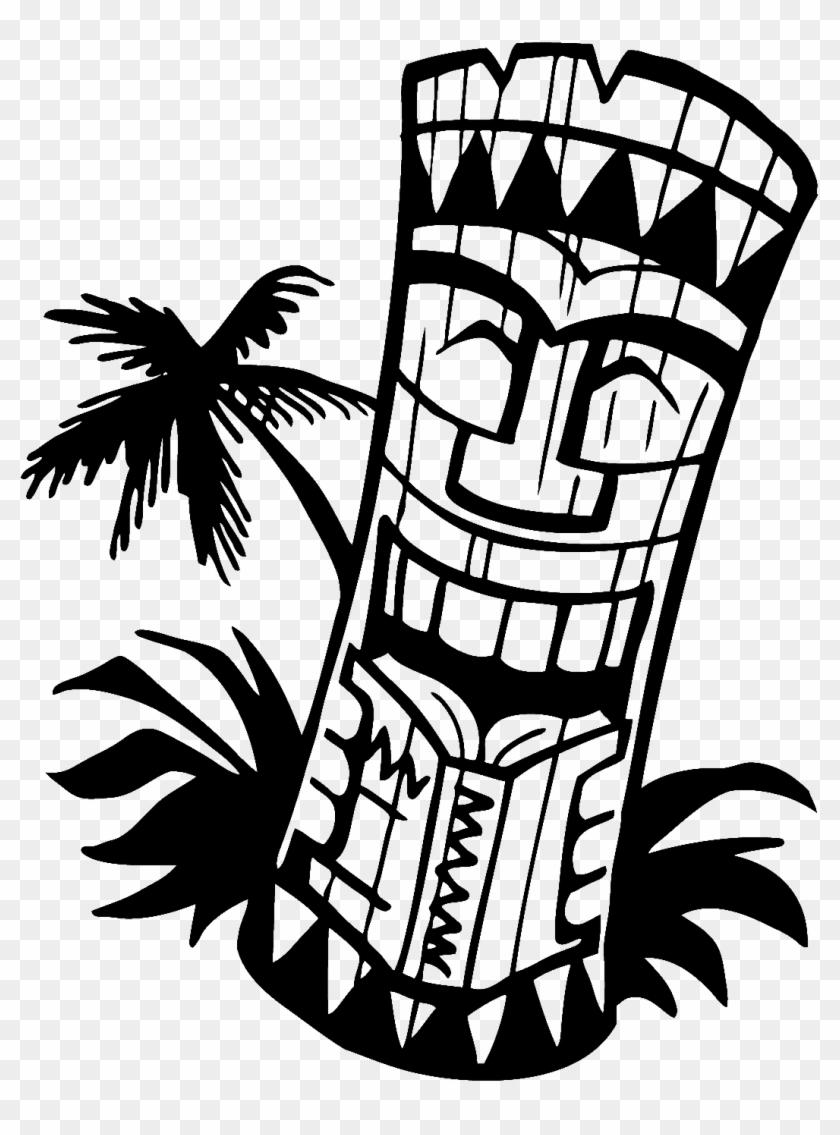 Hawaiian Tiki Clip Art Black And White - Tiki Clip Art Black And White #34553