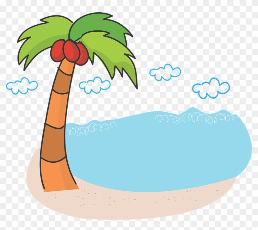 Image Result For Lake With Palm Trees Cartoon Black - Palm Tree And Beach Clipart Transparent #34566