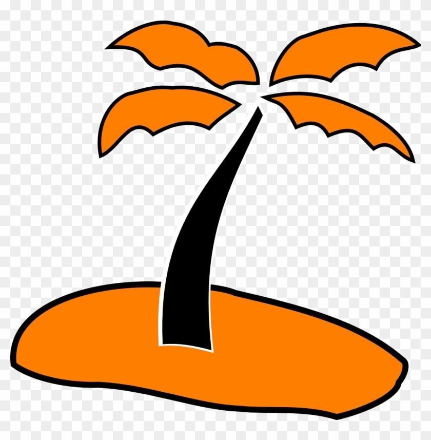 Palm Tree Sand Orange Black Beach Summer - Beach Love Icon Png #34629