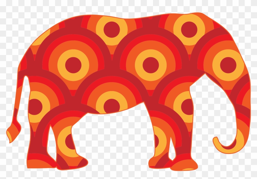 Retro Circles Elephant Bclipart - Bohemian Orange Elephant Pillow Case #34641