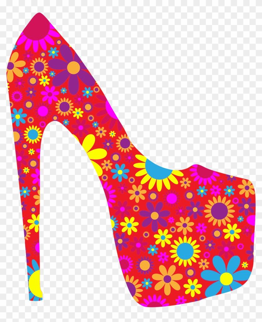 Retro Floral Shoe - Fashion Shoe Clipart #34707