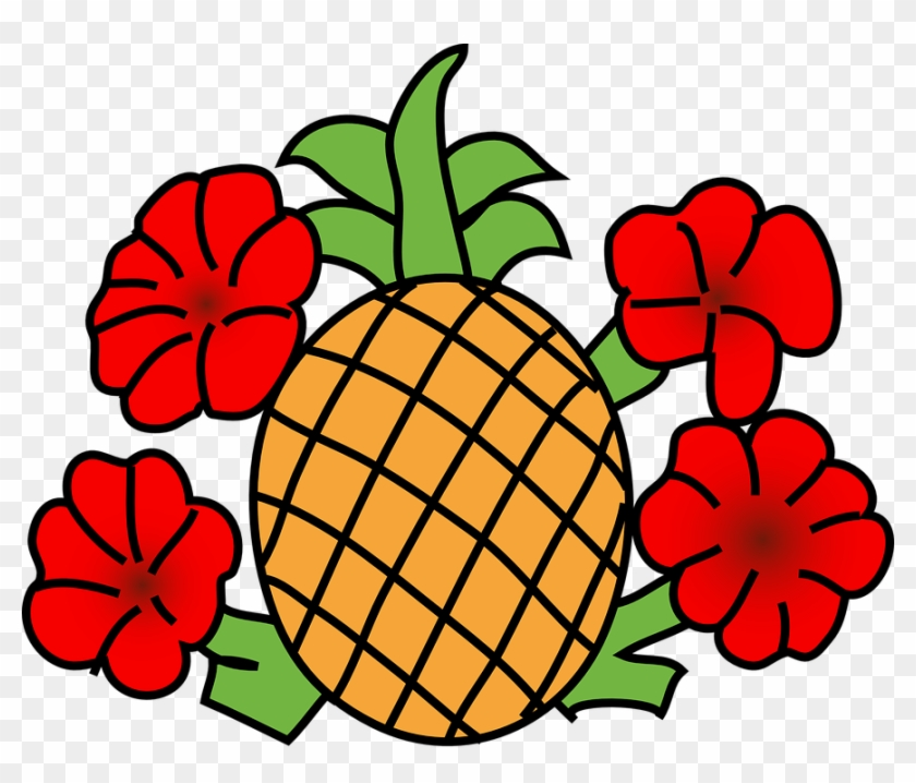 Pineapple With Flowers Clip Art At Clker - Pineapple Clip Art #34713