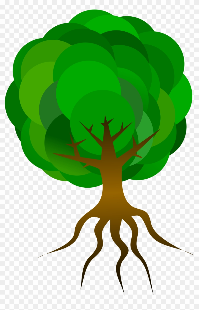 Simple Tree 1 Clipart, Vector Clip Art Online, Royalty - Tree Cartoon With Roots #34756