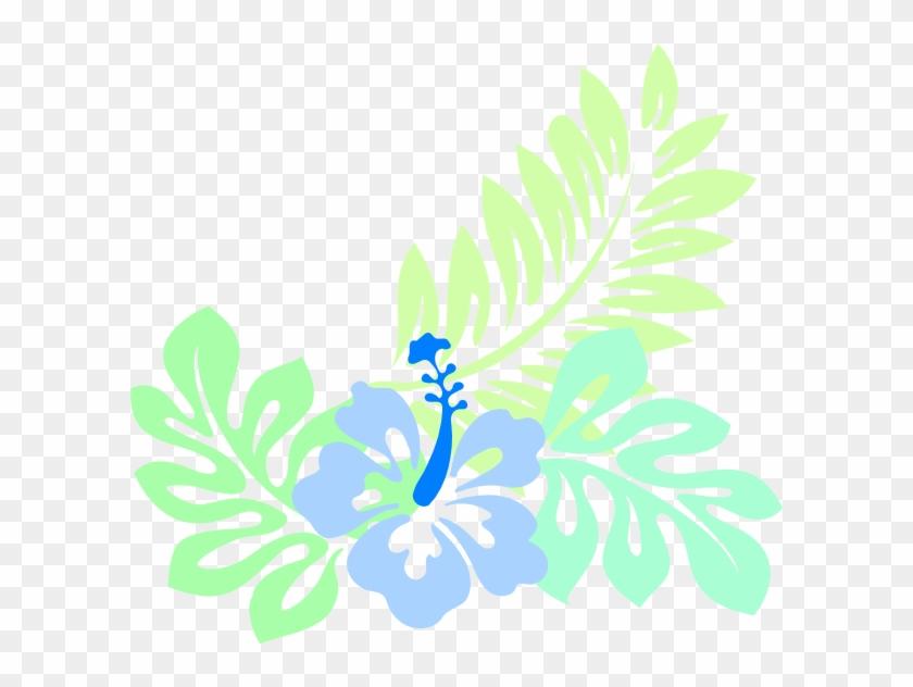 Hawaiian Blue Clip Art - Hawaiian Flower Artwork Print Desig 5'x7'area Rug #34811