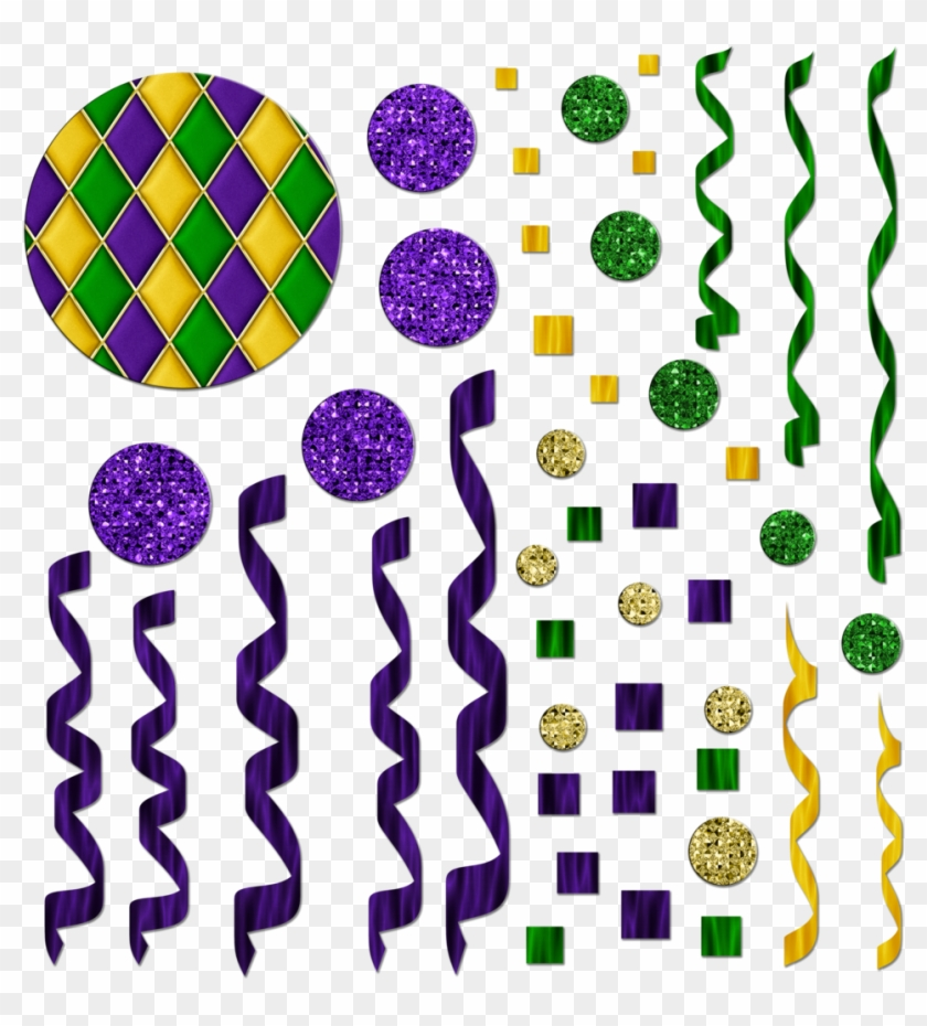 Free Mardi Gras Themed Streamers/confetti Graphics - Mardi Gras Confetti Clipart #34944
