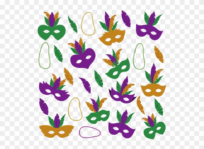 Mardi Gras Pattern With Mask Feathers And Necklaces - Mardi Gras #35077