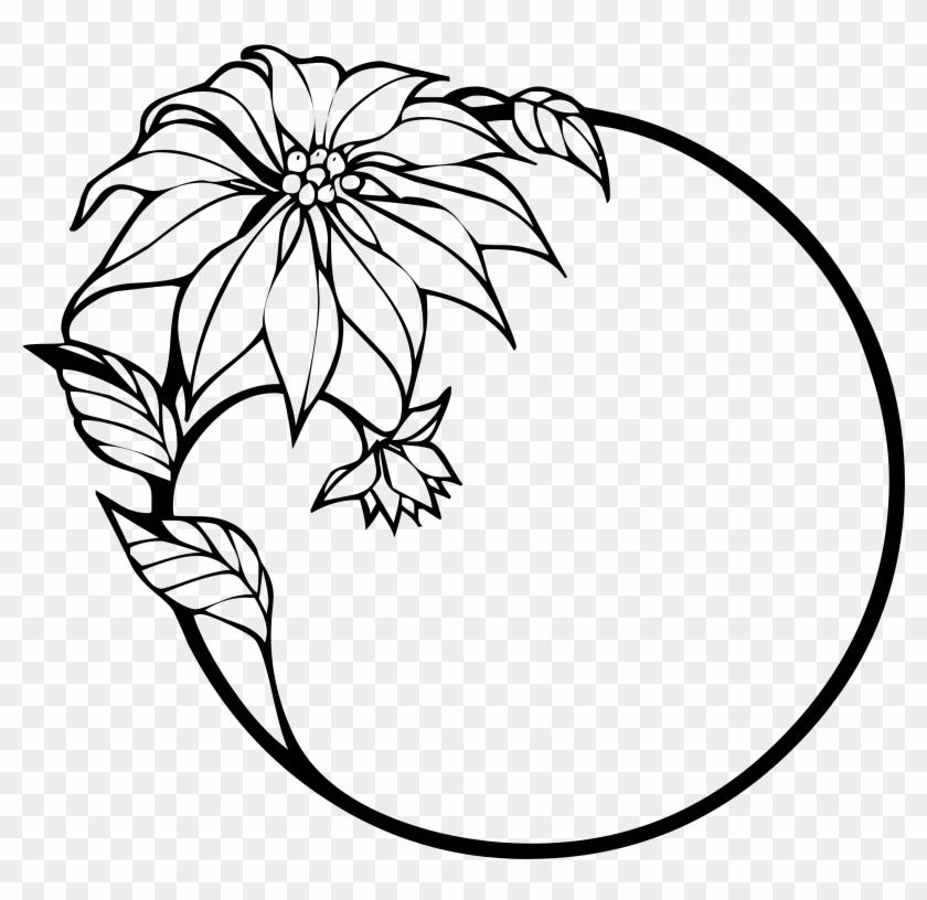 Christmas Flower Black White Line Art - Flower Black And White #35135