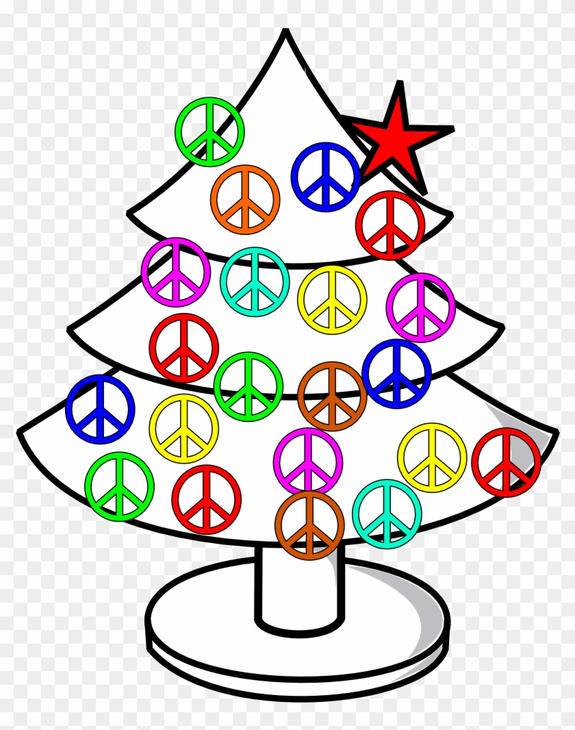Tree Xmas Christmas Peace Symbol Sign Line Clipart - Peace Sign Belly Button Rings #35333