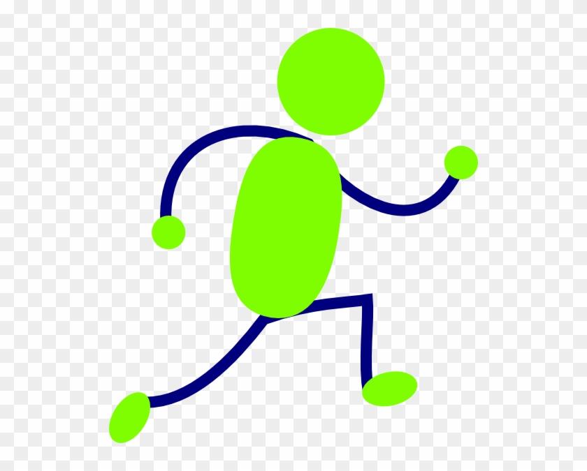 Green And Blue Running Man Clip Art - Running Clipart Animation #35348