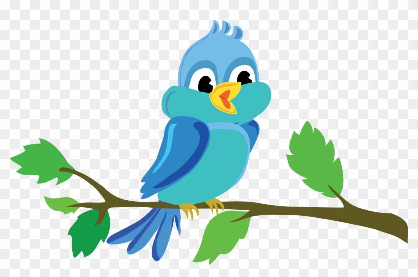 Bird Branch Cute Vector Blue - Bird In A Tree Cartoon #35353