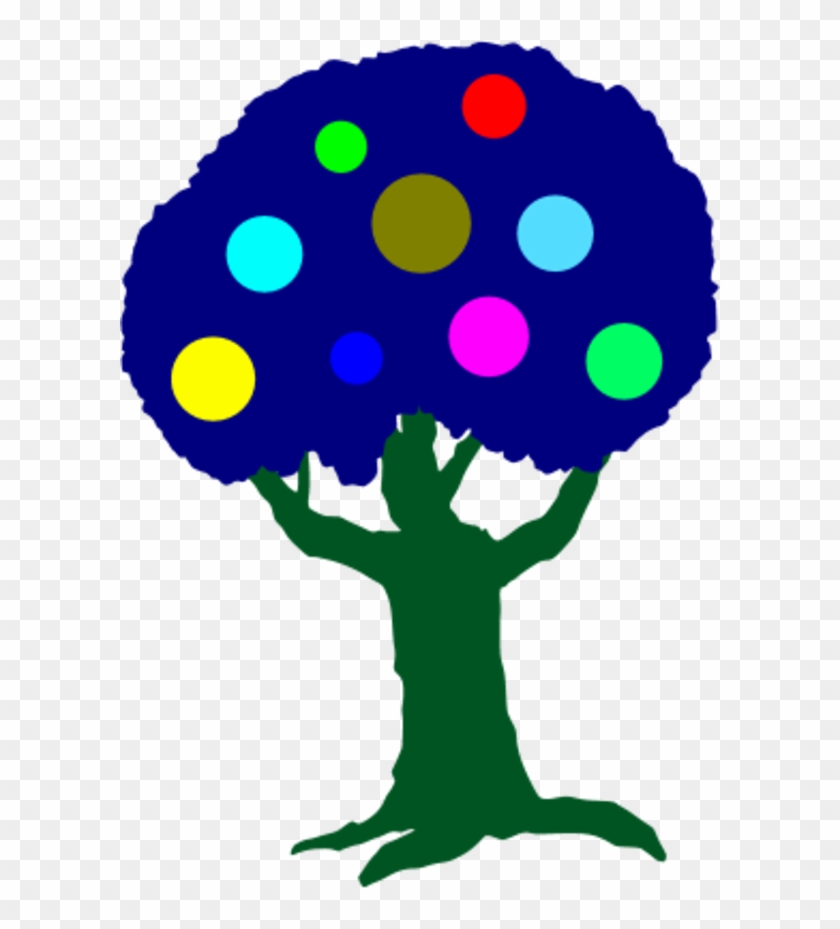 Tree With Colorful Circles Fruit - Clip Art #35422