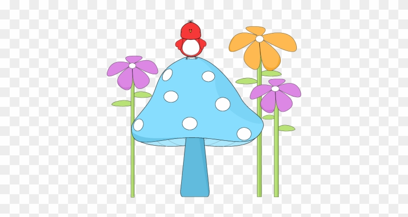 Mushroom With A Bird And Flowers - Birds And Flower Clipart #35428