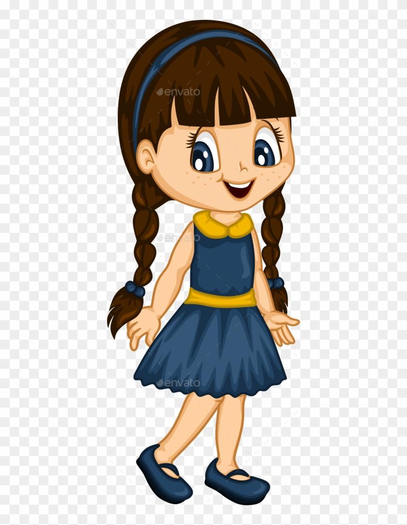 Cute Little Girl For 4 Seasons - Little Girl Cartoon #35514