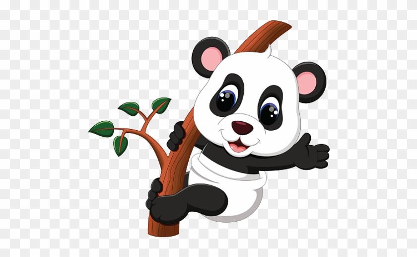 Baby Panda Climbing Bamboo Tree - Cute Baby Panda Cartoon #35621