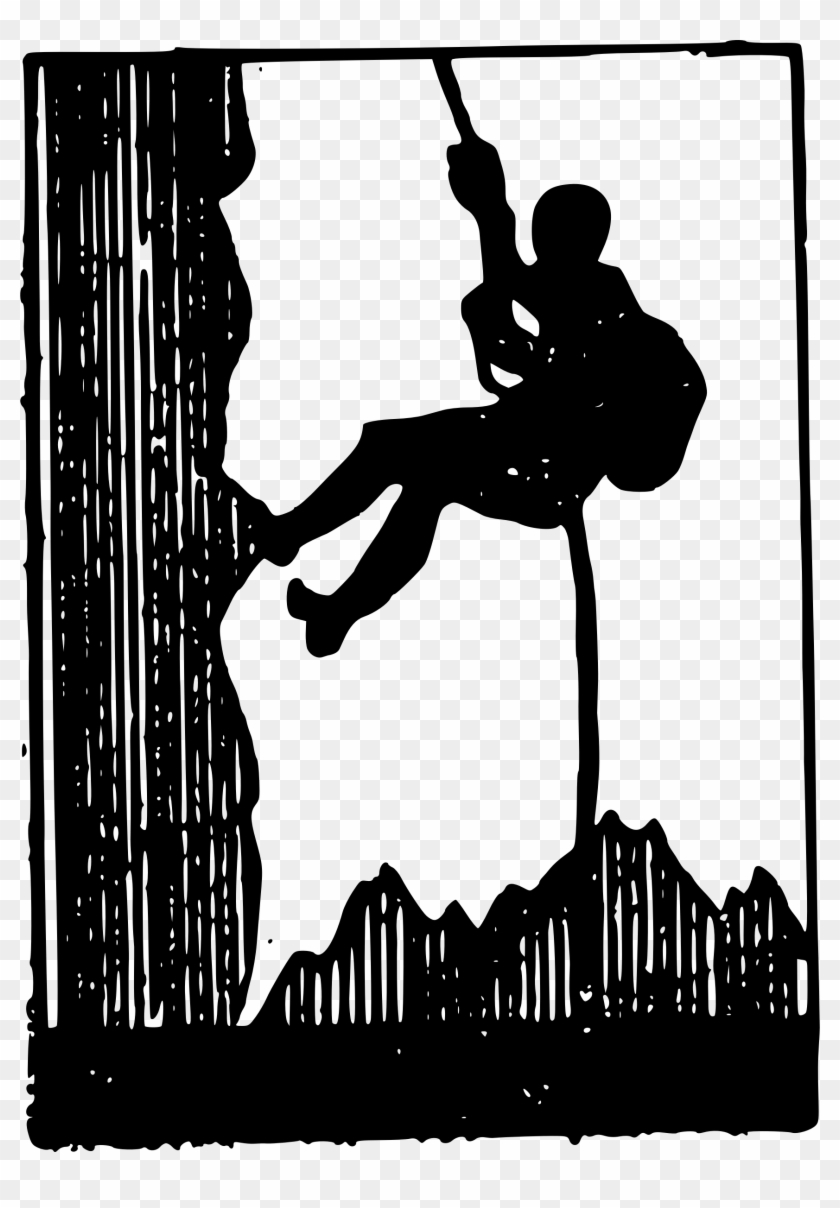 Clipart - Black And White Silhouette Rock Climbing Clipart #35727
