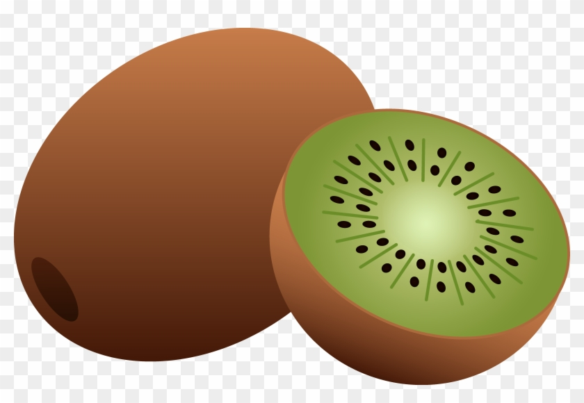 Whole And Half Kiwi Fruit - Transparent Clipart Of Fruits #35821