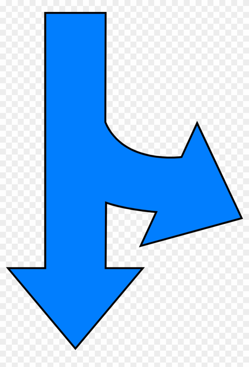 Arrows Blue - Arrow Right And Down #204464