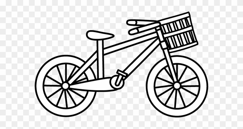 White Bicycle With A Basket Bike Clip Art Black And White Free Transparent Png Clipart Images Download