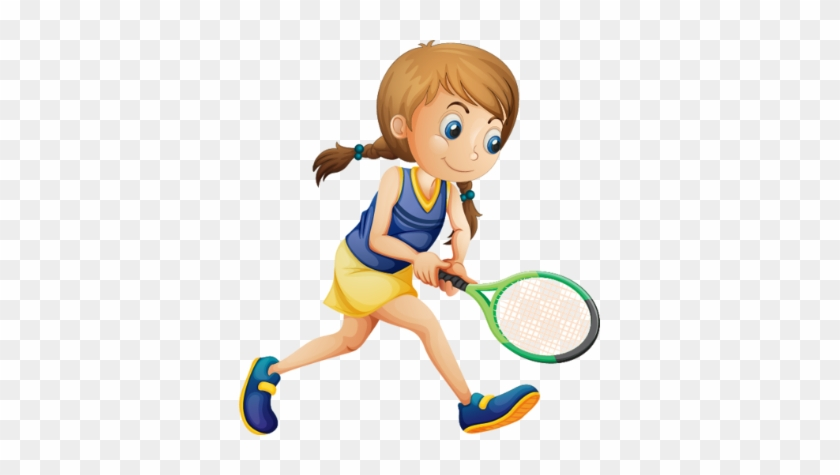 Sport - Girl Playing Tennis Clipart #205669