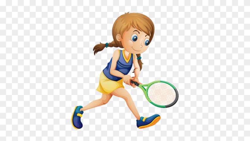 Sport - Girl Playing Tennis Clipart #205669