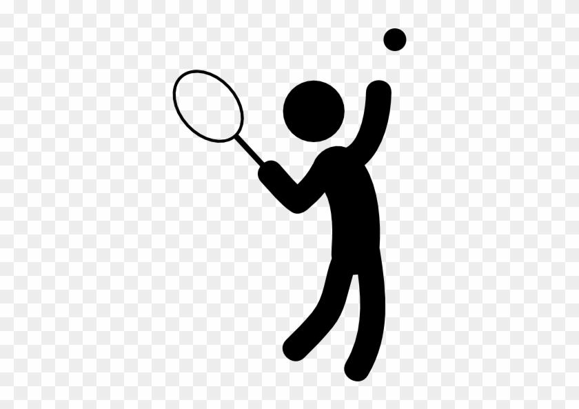 Hombre Jugando Al Tennis Icono Gratis - Person Playing Tennis Cartoon #206125