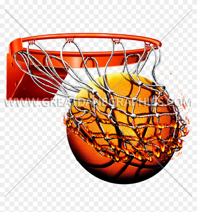 Flaming Basketball With Net Production Ready Artwork - Basketball In Net Png #206386
