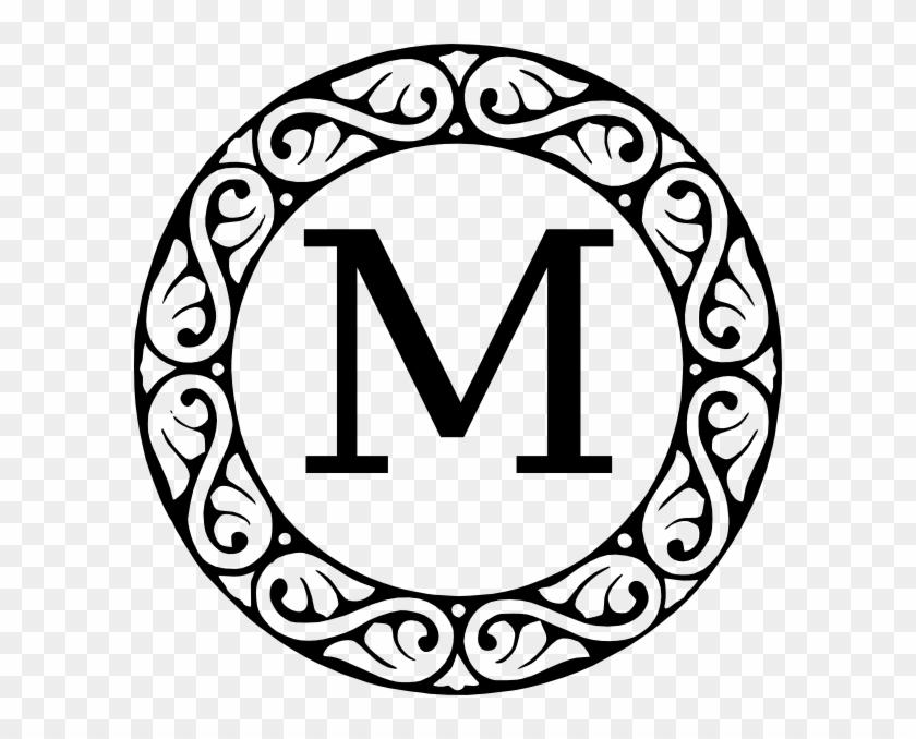 Monogram Letter M Clip Art At Clker - Black And White Letter M #206792
