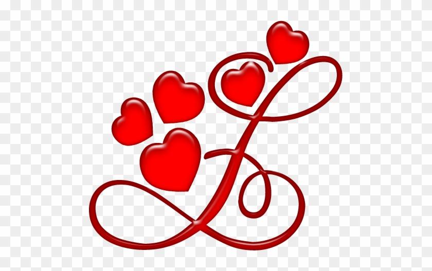 Alfabeto Rojo Con Corazones - Letra L Com Coração #206939