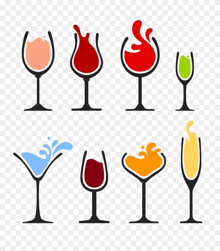 Bokali-6 - Wine Glass Vector #206989