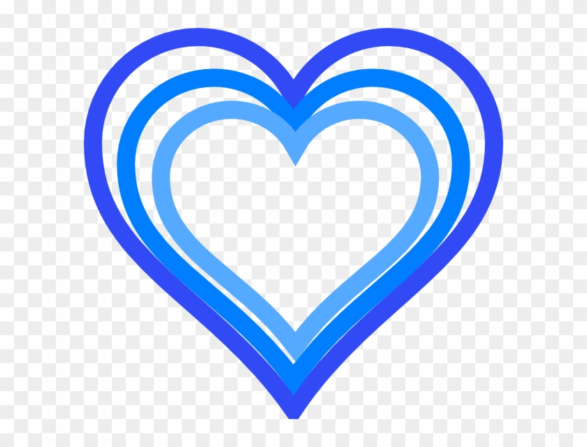 Triple Blue Heart Outline Clip Art At Clker - Blue And White Heart #207573