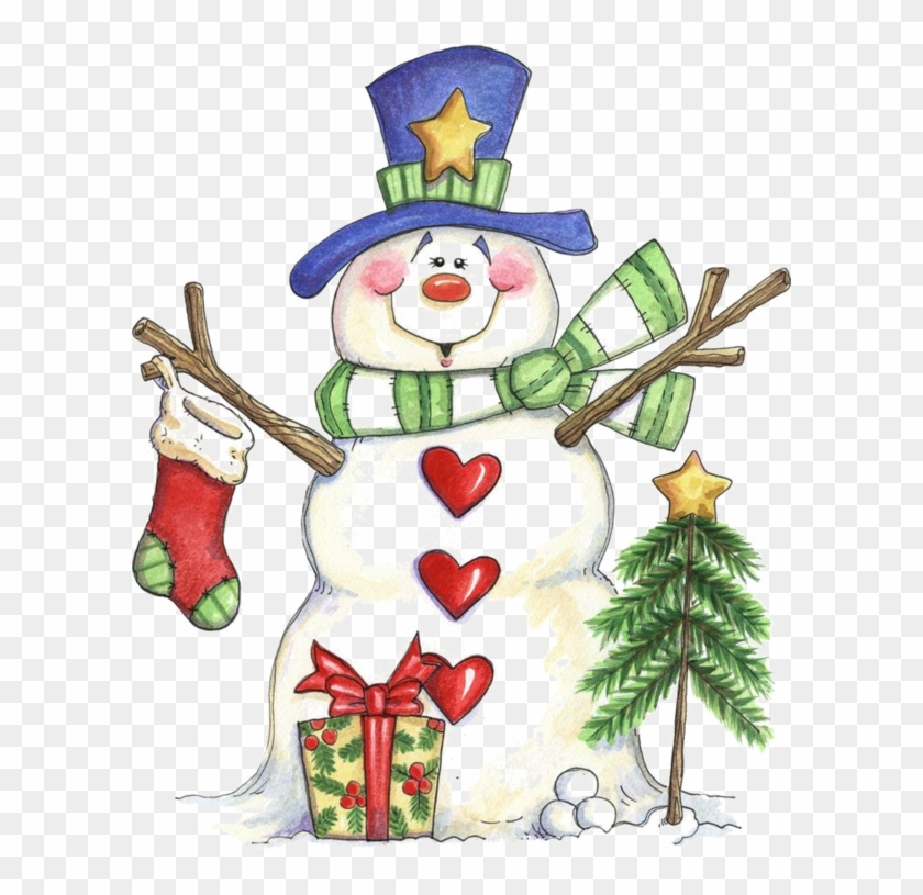 Christmas Paintings - Christmas Snowman Clipart #1312212