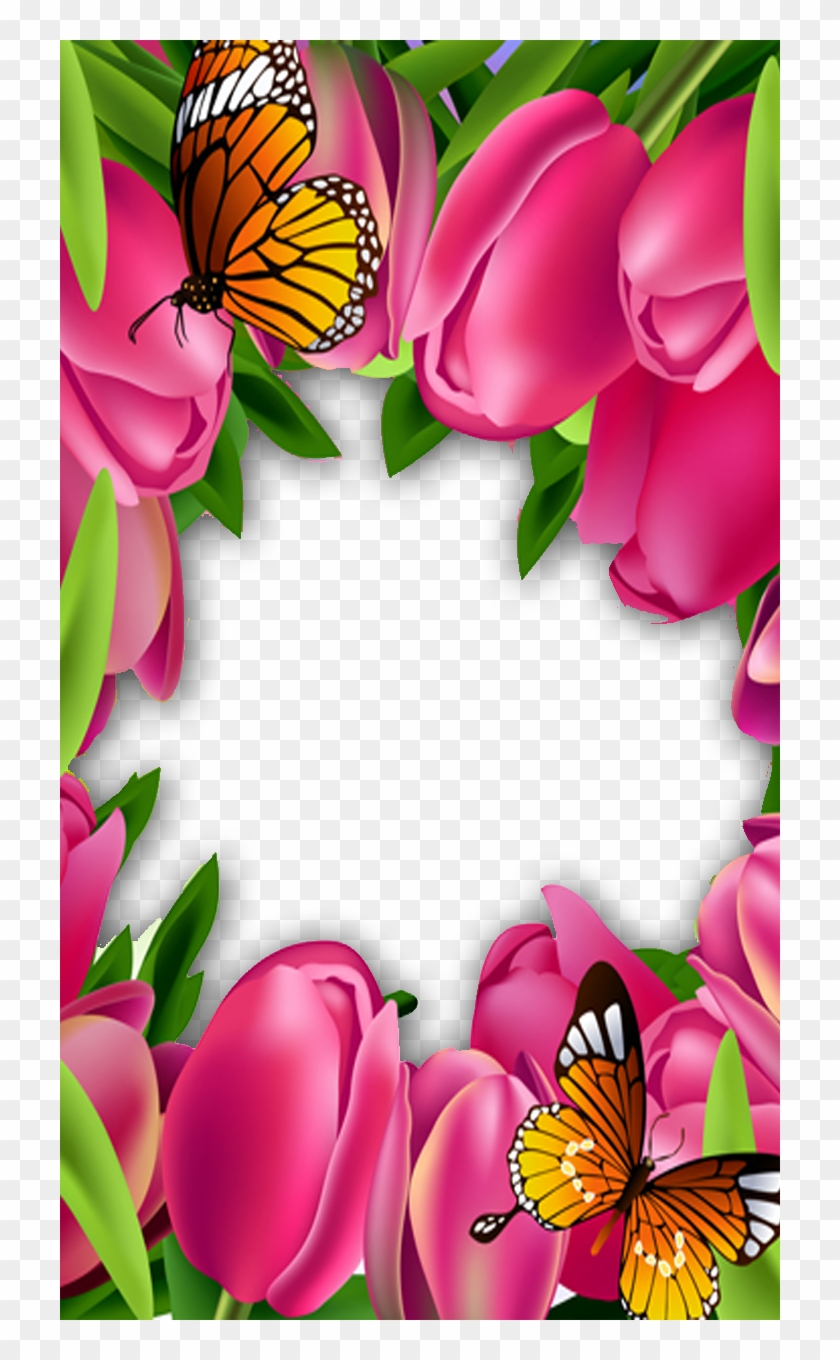 Frame For Photo With Beautiful Pink Roses Psd Png Download