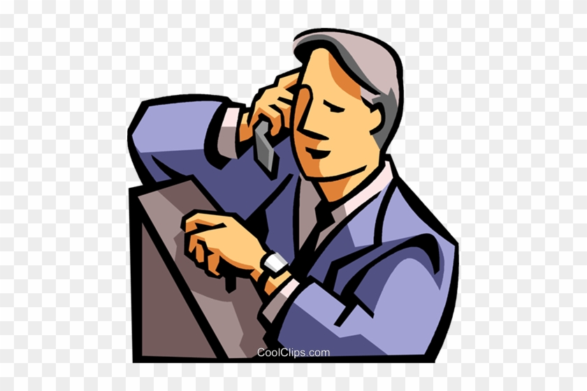 Man Talking On A Cell Phone Royalty Free Vector Clip - Man Talking On The Phone Clipart #1313716