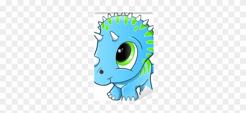 Cute Baby Triceratops Dinosaur Vector Illustration - Cute Blue Dinosaurs #1314079