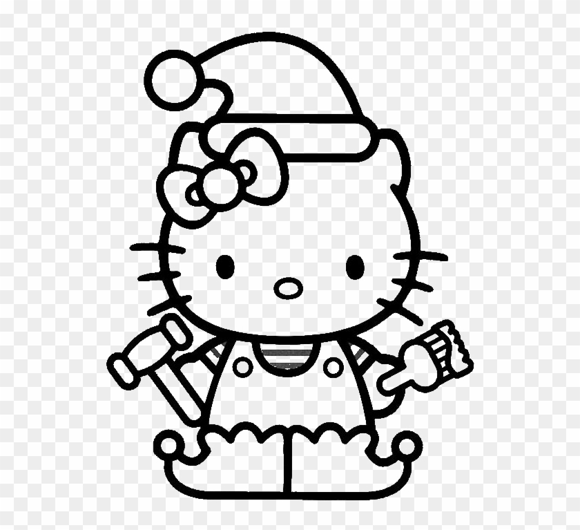 hello kitty christmas hat coloring for kids christmas elf coloring pages
